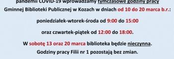 Uwaga! Skrócone godziny pracy Biblioteki do 20 marca